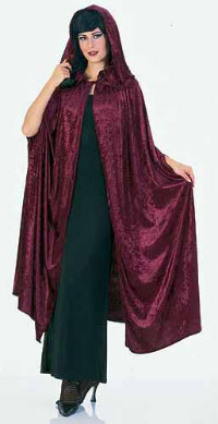 Burgundy Velvet Hooded Cloak